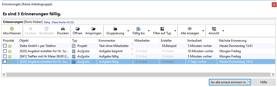 Xpert Timer Handbuch Projekte Projektmanager Bereiche